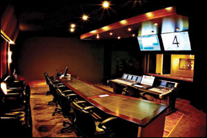 The control room at Sonic Fuel Studios has plenty of room for show creators, directors, producers, orchestrators, copyists, engineers and musicians.